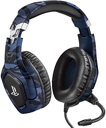 Trust Gaming Cascos PS4 y PS5 Auriculares de Gaming GXT 488 Forze-B, Licencia Oficial para PlayStation, Micrófono Plegable, Altavoces Activos de 50 mm, Cable Trenzado de Nailon de 1.2 m, Azul