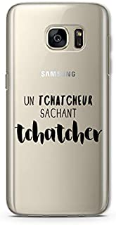 ZOKKO Case for Galaxy S7 Edge - Transparent Transparent Soft Touch Screen with Black Ink
