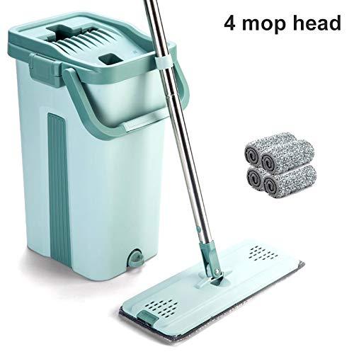 Klinkamz Mop Eimer System zur Bodenreinigung 2in1 Waschen Trocken mit Flachfaser-Mop-Pads 4 Mop Heads