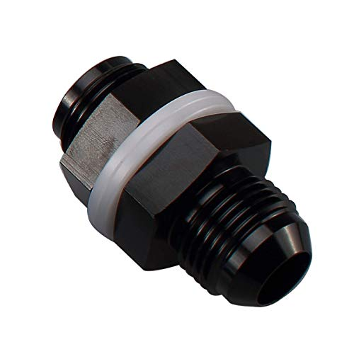 AC PERFORMANCE Black Aluminum Straight AN6 Fuel Cell Bulkhead Adapter Fitting -6 AN Locking Nut With Oil-resistant Washers for Fuel Tank