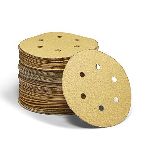 Supremery 100x Aluminiumoxid-Mineral Klett Schleifpapier rund für Exzenterschleifer - 40-400 Körnung ø 150mm Korund Schleifscheiben Set für Holz Holzwerkstoffe Spanplatte Metall