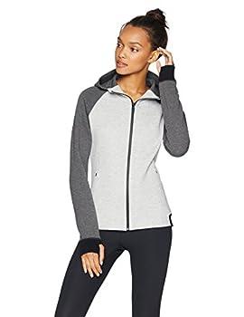 Core 10 Women s Plus Size Motion Tech Fleece Fitted Full-Zip Hoodie Jacket Light Grey Heather/Medium Grey Heather/Black 3X  22W-24W