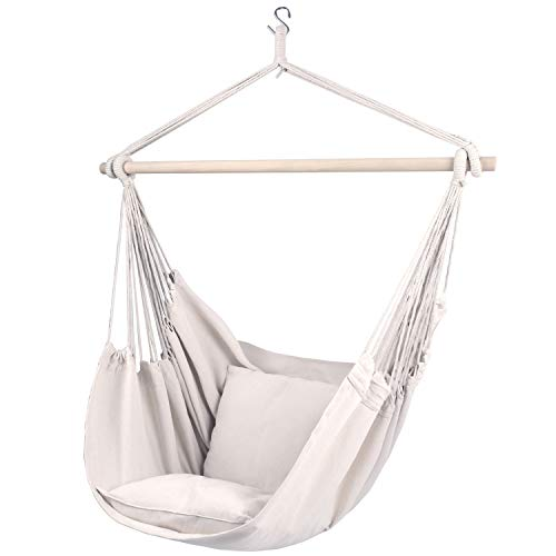Gold Armour Hammock Chair Hanging Rope Swing Max 330lbs, 2 Seat Cushions Included, Hanging Chair with Pocket-Quality Cotton Weave for Superior Comfort & Durability (Beige)