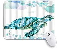 KAPANOU マウスパッド、ブルーホワイトタートル落書き おしゃれ 耐久性が良い 滑り止めゴム底 ゲーミングなど適用 マウス 用ノートブックコンピュータマウスマット