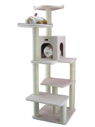 ARMARKAT Kratzbaum B6802 mit großem Katzenhaus, große Liegeflächen stabil (Elfenbein)