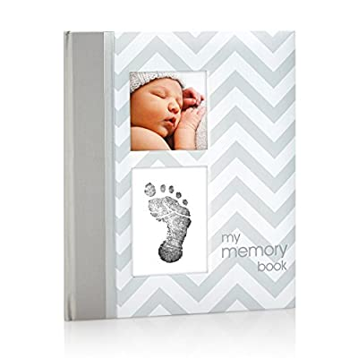 Pearhead First 5 Years Chevron Baby Memory Book with Clean-Touch Baby Safe Ink Pad to Make Baby's Hand or Footprint Included, Gray, Gray Chevron from Pearhead