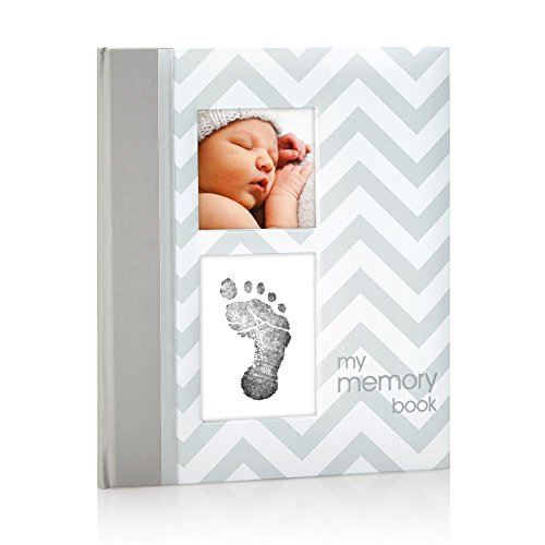 Pearhead First 5 Years Chevron Baby Memory Book with Clean-Touch Baby Safe Ink Pad to Make Baby's Hand or Footprint Included, Gray, Gray Chevron