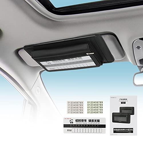 Dispensador multifuncional de servilleta para coche, organizador de CD/máscara, ranura para bolígrafo, tarjeta de aparcamiento, bolsa de almacenamiento para visera de coche, para colgar visor de coche