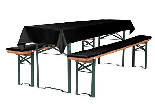 TexDeko Bierbankauflagen Premium 4,2cm mit Reißverschluss zum selber aufziehen und Tischdecke 3TLG. Set 220cm (Schwarz)
