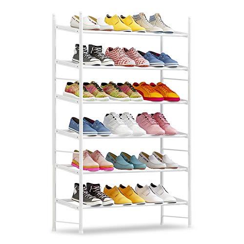 IBEQUEM Zapatero con 6 niveles, color gris plateado, apilable y ajustable, para salón, vestidor, ancho (60-110) x alto 50 x profundidad 30 cm (blanco)