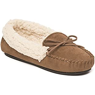 Dr Keller Ladies Womens Slip On Full Moccasin Slippers with Fluffy Lining and Lace Detail UK Size 3 4 5 6 7 8 (3 UK, Brown)