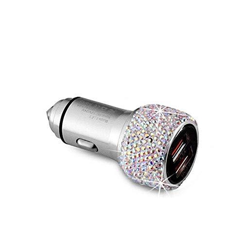 ZGYQGOO Cargador Coche Doble USB Martillo Seguridad Diamante Cargador Coche Cargador Coche Diamante metálico Cargador teléfono Universal para Coche (Color: C)