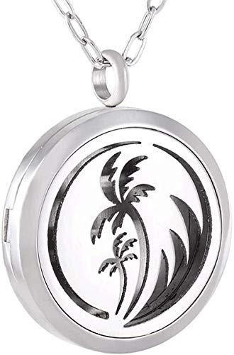 Collar de urna de cremación de recuerdo con forma de árbol de coco, collar con colgante de perfume conmemorativo, medallón ambientador de acero inoxidable