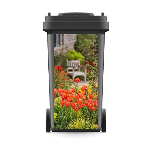 WERBEPUNKT. Mülltonnenaufkleber Mülltonne Mülleimer Abfalltonne Rote Tulpen Blumen Natur - 720 x 320 mm