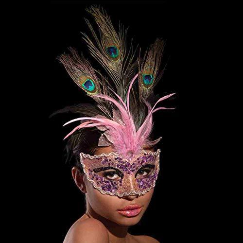 Carnival Toys - Máscara rosa con purpurina y plumas de pavo real en sobre