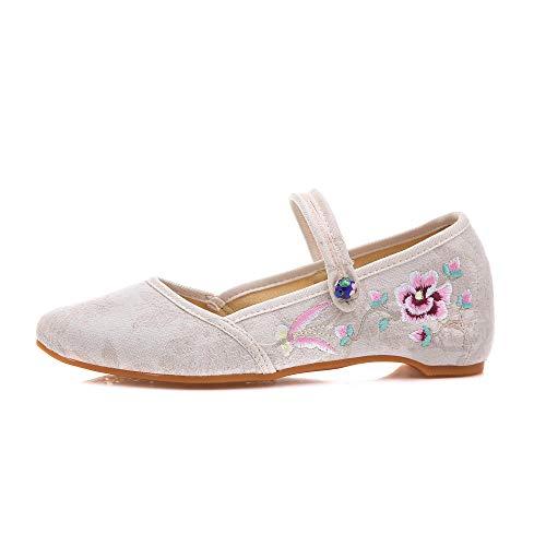 YYXDDD Bestickte Stoffgöttin Kleine, frische Schuhe mit weichen Kissenlagen Von Hand nähen @ Creamy-White_34
