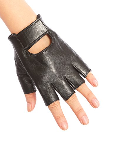 May&Maya Women's Genuine Nappa Leather Fingerless Motorcycle Fashion Driving Gloves (Black M)