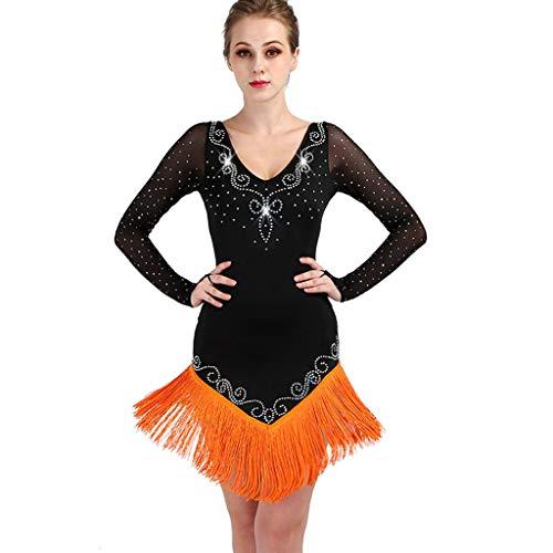 Vestido De Competicin Con Flecos De Baile Latino Para Flecos Para Mujer Disfraz De Rendimiento De Tango De Rumba Profesional (Color : Orange, Size : 2XL)