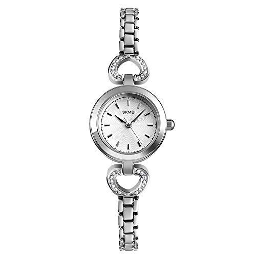 Womens Quartz Watch, Minimalist Women Ladies Wrist Watch with Stainless Steel Band (Silver)