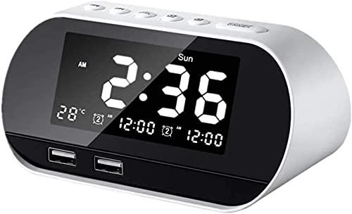 Reloj Despertador Digital Junto a la Cama Reloj con alimentación de Red Amanecer Relojes Digitales Reloj de baño Reloj de proyección Reloj de Noche Relojes Digitales mesita de Noche Blanco