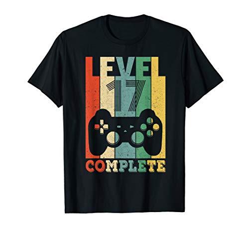 Herren 17. Geburtstag Geschenk Level 17 Junge Mädchen Gamer Zocker T-Shirt