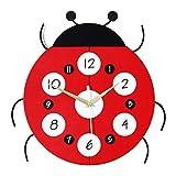 NXYJD Reloj de Pared de Madera, niños Reloj Decorativo Segura Cuarzo Mudo del Reloj Hecho a Mano Que cuelga del Reloj del Dormitorio del hogar