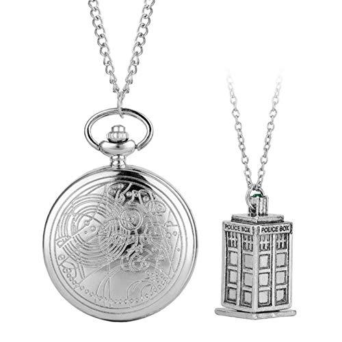 ZMKW Collar de Bronce Retro Reloj de Bolsillo de Cuarzo Colgante analógico Full Hunter Estilo clásico Antiguo Relojes de Cadena Vintage, 3 con Accesorio
