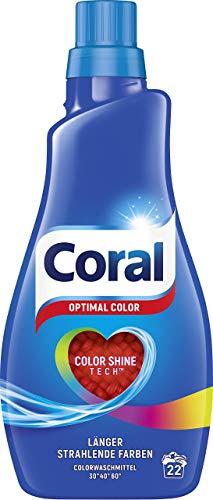 Coral Waschmittel flüssig für bunte Wäsche – 44 Waschladungen hygienisch reine Wäsche, extra stark gegen Flecken – Optimal Color Flüssigwaschmittel ( 2 x 1,1 L)