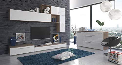 Parete Attrezzata Edimburgo Mobile Soggiorno TV con Vani A Giorno Ed Ante Salotto Legno Base Televisione Sala da Pranzo Design Moderno 270 x 50 x 200 Cm Colore Bianco Lucido Laccato e Rovere
