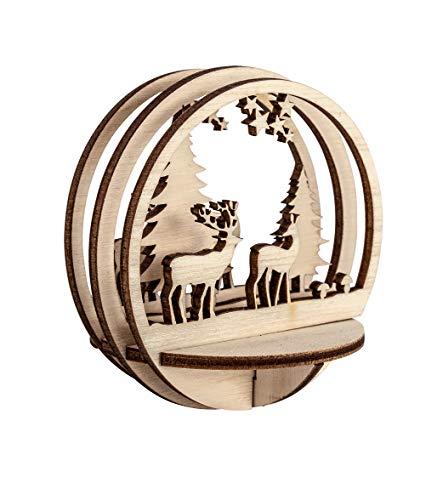 Rayher 62883505 Holz-Steckteile Waldstimmung, 7,5 cm ø, natur, Set 5teilig, Holzbausatz gelasert, FSC zertifiziert, Weihnachtsdekoration