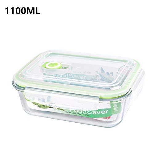 Recipiente de cristal para almacenamiento de alimentos con tapa, reutilizable, apto para microondas, lavavajillas y congelador. 1100ml-1pcs verde