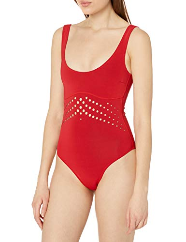 Cynthia Rowley Women's Perforated Scoop Racy One Piece, Scarlet, Small