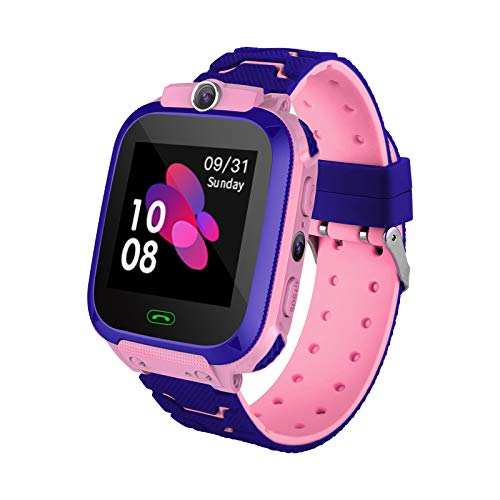 Smart Watch für Kinder mit LBS-Positionierung - SOS Anti-Lost-Smartwatch-Telefon für Kinder Kompatibel für Android iOS mit Voice-Chat-Alarmspiel Taschenlampe für Jungen Mädchen Geburtstagsgeschenke