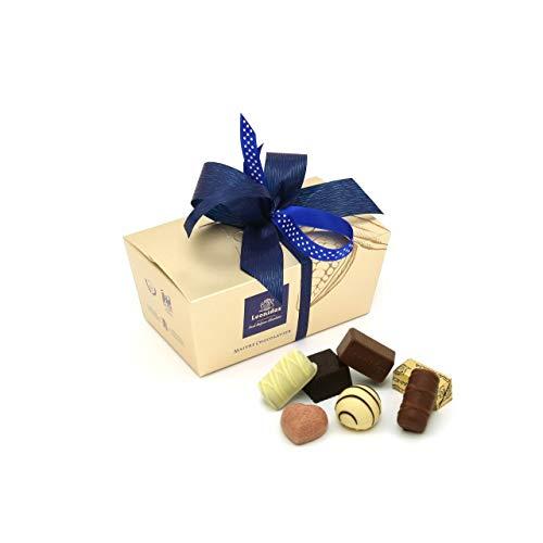 Leonidas Pralinen | 400g handverlesene belgische Pralinen Mischung mit individuell handgefertigter Schleife in goldenem Pralinen Ballotin, ideal als Geschenk oder zum Selbernaschen (Blau)