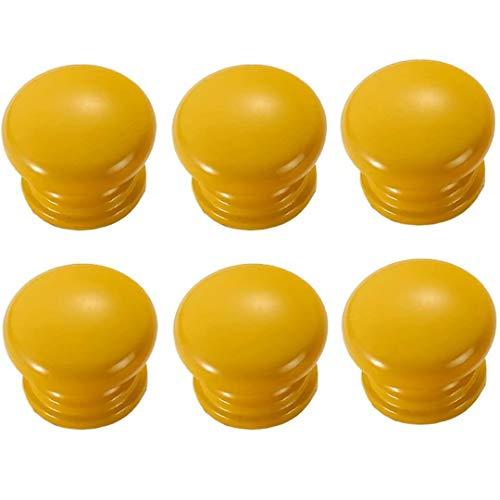 FBSHOP(TM) 6 Stück Gelb Runde Pilzform Holz Kabinett Knöpfe Schublade Knöpfe, Möbelknöpfe Schrankgriffe Schublade Kommode Griffe für Schrank, Büro Schublade, Türknöpfe, Möbelknopf