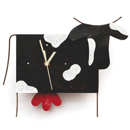 Oxidos klok wandklok koe met slinger metalen pendelklok geruisloos Fair Trade