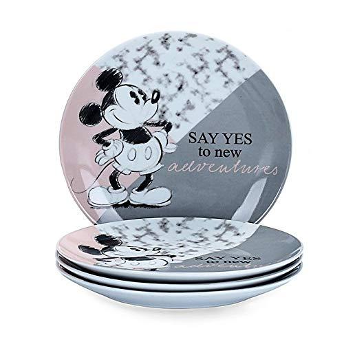 Juego de 4 platos de Mickey Mouse con texto en inglés