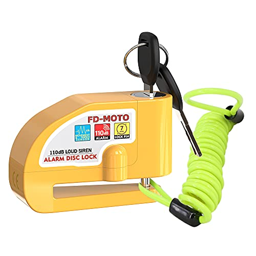 FD-MOTO 110dB Alarm Disc Brake Lock + Free Carry Pouch and 1.5M Reminder...