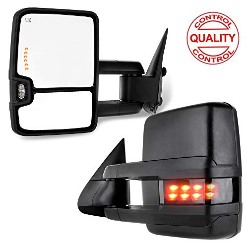 TUPARTS Tow Mirrors Towing Mirrors Fit For 1999-2002 Chevy Silverado G-MC Sierra 1500/2500 Power Adjusted Heated LED Turn Signal Clearance Light Black Textured