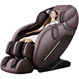 iRest SL Track Massage Chair Recliner, Full Body Massage Chair with Thai Stretch, Zero Gravity, Bluetooth Speaker, Airbags, and Thai Foot Massage, Space-Saving (Brown)