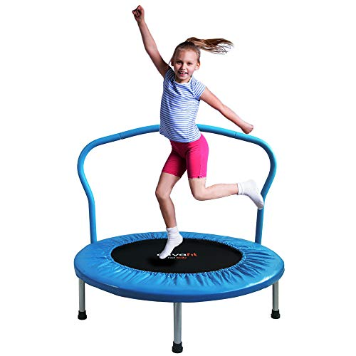 ATIVAFIT 36-Inch Folding Trampoline Mini Rebounder ,Suitable for Indoor and Outdoor use, for Two Kids with safty Padded Cover Blue