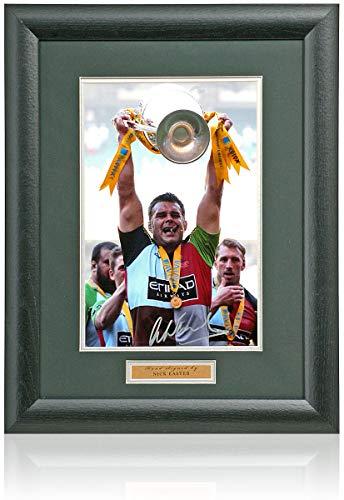 BSM Nick Easter, handsigniertes Harlequins England Rugby, 30,5 x 20,3 cm Foto AFTAL COA