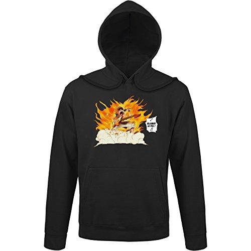 Okiwoki Sweat-Shirt à Capuche Noir Parodie Fairy Tail - Natsu - Allumer Le Feu !! (Sweatshirt de qualité Premium de Taille L - imprimé en France)