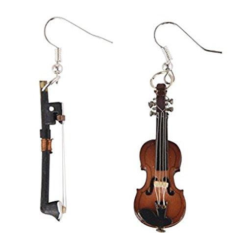 Miniblings Geigen und Bogen Violine Instrument Ohrringe - Handmade Modeschmuck I Musik Geigerin mit Schatulle Box - Ohrhänger Ohrschmuck versilbert