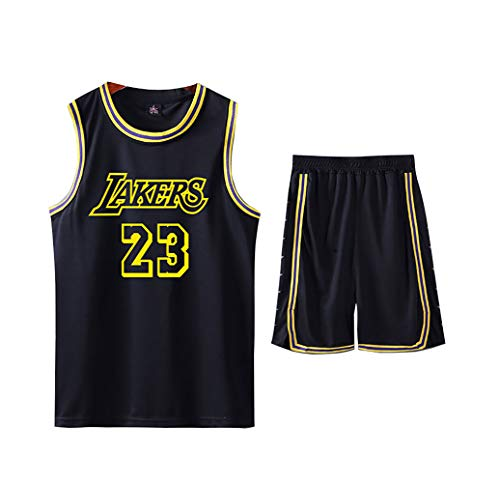 LJWLCH Basketball Trikot Lebron Raymone James # 23 Kinder Sport ärmelloser Anzug, Jungen und Mädchen Sportbekleidung Schule Sommerweste + Shorts Jugend schwarz Sweatshirt Unisex-XL