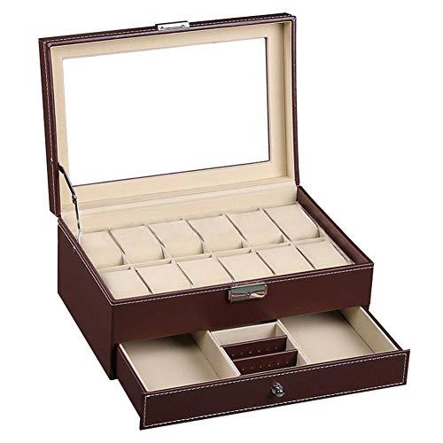 XIDISQI Cajas Relojes Estuche Organizador para Guardar Relojeros y Joyeros Expositor Porta Hombre Mujer Gemelos Anillos Joyas Grande Presentacion PU Piel (marrón)