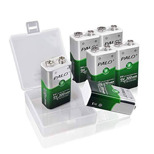 CITYORK Akku 9V 300mAh NiMH mit geringer Selbstentladung - 6 Stück Wiederaufladbare Batterien- Block Batterien ideal für Messgerät Multimeter Spielzeug Fernbedienung UVM