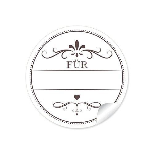 24 STICKER: 24 Edle Etiketten in weiß mit Herz und Ornamente
