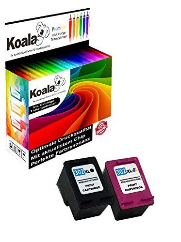 Koala Tintenpartonen Remanufactured für HP 302XL 302 für HP Deskjet 1110 2130 3630 3633 3636 HP Envy 4520 4524 4525 4527 HP OfficeJet 3830 3831 4650 5230 (1*Schwarz 1*Farbe)