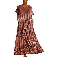 COZOCO Mujer Vestido Cuello V Playa Dress Vestido Verano Mujer Punto Falda Larga Elegante Casual Dress (Naranja,EU-42/CN-2XL)